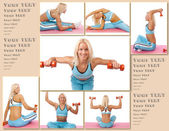 Fitness trainer is demonstrating how to stretch and a few excerc — Stock Photo