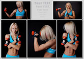 Stunning blondie with sport inventory — Stock Photo
