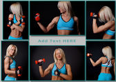 Well trained fitness trainer is demonstrating her muscles — Stock Photo