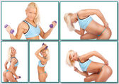 Blond woman is posing with dumbbells on a white background — Stock Photo