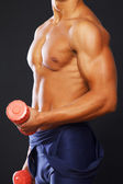 Male muscle hands with red dumbbells — Stock Photo