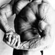 Bodybuilder is demonstrating his big muscled body — Stock Photo #22205279