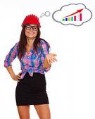 Mulher de negócios é feliz que as estatísticas estão crescendo — Foto Stock