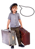 Little boy is wondering how long should he wait his flight — Stock Photo