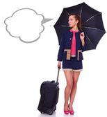Młoda atrakcyjna kobieta myśli o jej lotu — Zdjęcie stockowe