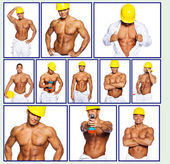 Sexy hardworker is taking different poses — Stock Photo