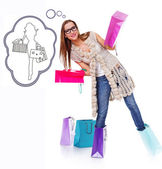 Shopaholic woman is fooling around with bags — Stock Photo