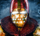 Noble knight in personification of iron man — Stock Photo
