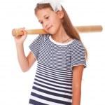 porträtt av tänkande flicka med en slunga — Stockfoto