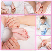 Adorable baby and his little foots — Stock Photo