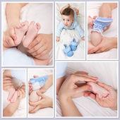 Smiling baby boy und seine weiche beine — Stockfoto