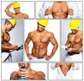 Hot worker in unofirm with drill — Stock Photo