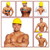 Shirtless hardworker in hardhat with drill — Stock Photo