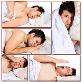 Sleepy man do not want to get up — Stock Photo