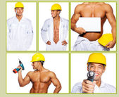 Hardworker in bianco uniforme con corpo caldo — Foto Stock