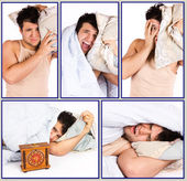 Man want to sleep, but he need to get up — Stock Photo