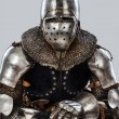 Portrait of sitting armored knight - Stockfoto