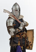 Man is posing as a medieval knight — Stock Photo