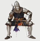 Proudly sitting knight is holding his weapon — Stock Photo
