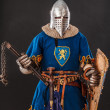 Stock Photo: Brave knight in blue with lion in his form is ready to fight