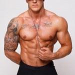 Hot guy in black clothing — Stock Photo