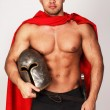Brave barbarian who is holding his helmet - Stok fotoraf
