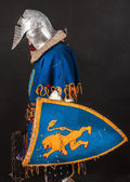 Sad knight with weapon and shield in his hands — Stock Photo