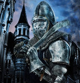 Knight with sword near to a castle — Stock Photo