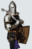 Knight is posing on the white background — Stock Photo