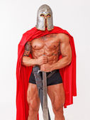 Standing in position topless warrior — Stock Photo