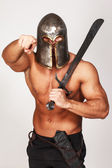 Angry warrior is pointing on someone — Stock Photo