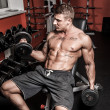Sexy sportsman with dumbbells in gym - Stock Photo