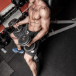 Stockfoto: Topless sportsmis lifting weights