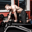 Foto Stock: Bodybuildres is doing exercises to build better triceps