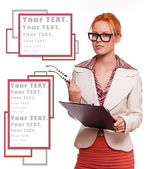 Redhead woman in glasses with a blank — Stock Photo