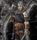 Fearless knight with sword and hatchet — Stock Photo