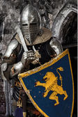 Knight with armor is standing near castle — Stock Photo