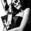 Colorless picture of female zombie and x-ray images — 图库照片