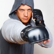 Young boxer is ready to punch — Stock Photo