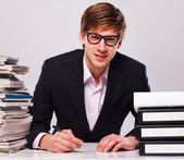 Businessman with folders — Stock Photo