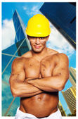 Tainted shirtless hardworker with a well looking body — Stock Photo