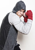 Colorless picture of young boxing man — Stock Photo