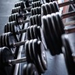 Few heavy dumbbells in the gym — Stock Photo