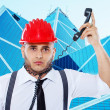 Suicidal businessmput wire on his neck — Stock Photo #24457789
