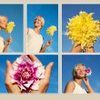 Bright young woman taking photos with flowers in the fresh air — Stock Photo