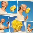 Several images of young attractive woman and flowers — Stock Photo