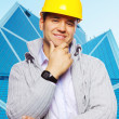 Image of foreman in yellow hardhat — Stock Photo