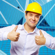 Happy young foreman with a thumbs up — Stock Photo