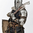 Stock Photo: Portrait of armed knight with his shield