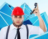 Suicidal businessman put a wire on his neck — Stock Photo